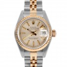 Ladies Rolex Datejust Steel and Gold Champagne Tapestry Dial Fluted Bezel Jubilee Band