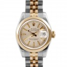 Ladies Rolex Datejust Steel and Gold Champagne Tapestry Dial Smooth Bezel Jubilee Band New Style
