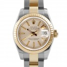 Ladies Rolex Datejust Steel and Gold Champagne Tapestry Dial Fluted Bezel Oyster Band New Style