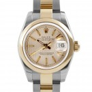 Ladies Rolex Datejust Steel and Gold Champagne Tapestry Dial Smooth Bezel Oyster Band New Style