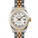 Ladies Rolex Datejust Steel and Gold White Roman Numeral Dial Fluted Bezel Jubilee Band New Style