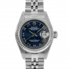 Ladies Rolex Datejust Stainless Steel Blue Roman Numeral Dial Fluted Bezel Jubilee Band