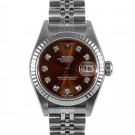 Ladies Rolex Datejust Stainless Steel Havana Diamond Dial Fluted Bezel Jubilee Band