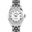 Ladies Rolex Datejust Stainless Steel White Roman Numeral Dial Smooth Bezel Jubilee Band New Style