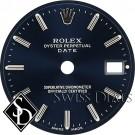 Ladies Rolex Date Blue Stick Marker Swiss Made Dial SS