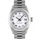 Ladies Rolex Datejust White Gold White Roman Dial Fluted Bezel President Band