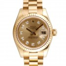Ladies Rolex Datejust Yellow Gold Champagne Diamond Dial Fluted Bezel President Band