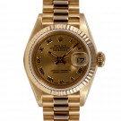 Ladies Rolex Datejust Yellow Gold Champagne Roman Numeral Dial Fluted Bezel President Band