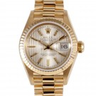 Ladies Rolex Datejust Yellow Gold Champagne Tapestry Stick Dial Fluted Bezel President Band