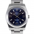Men's  Rolex Airking Stainless Steel Blue Arabic Stick Dial Smooth Bezel Oyster Band