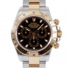 Men's Rolex Daytona Steel and Gold Black Dial Tachymeter Engraved Bezel Oyster Band New Style