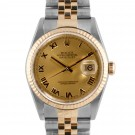 Men's  Rolex Datejust Steel and Gold Champagne Roman Numeral Dial Fluted Bezel Jubilee Band