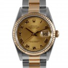 Men's  Rolex Datejust Steel and Gold Champagne Roman Numeral Dial Fluted Bezel Oyster Band