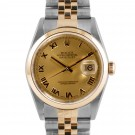 Men's  Rolex Datejust Steel and Gold Champagne Roman Numeral Dial Smooth Bezel Jubilee Band