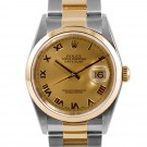 Men's  Rolex Datejust Steel and Gold Champagne Roman Numeral Dial Smooth Bezel Oyster Band