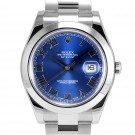 Mens Rolex Datejust II Stainless Steel Blue Roman Numeral Dial Smooth Bezel Oyster Band