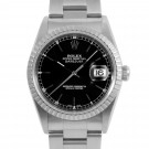 Men's  Rolex Datejust Stainless Steel Black Stick Dial Engine Turned Bezel Oyster Band