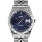 Men's Rolex Datejust Stainless Steel Blue Stick Dial Fluted Bezel Jubilee Band