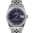 Men's Rolex Datejust Stainless Steel Blue Stick Dial Engine Turned Bezel Jubilee Band