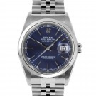 Men's Rolex Datejust Stainless Steel Blue Stick Dial Smooth Bezel Jubilee Band