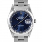 Men's  Rolex Datejust Stainless Steel Blue Stick Dial Smooth Bezel Oyster Band
