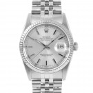 Men's  Rolex Datejust Stainless Steel Silver Stick Dial Fluted Bezel Jubilee Band