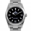 Men's Rolex Explorer Stainless Steel Black Index Dial Smooth Bezel Oyster Band