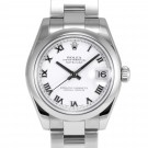 Midsize Rolex Datejust Stainless Steel White Roman Numeral Dial Smooth Bezel Oyster Band New Style