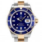 Men's Rolex Submariner Steel and Gold Blue Index Dial Blue 60min Bezel Oyster Band Gold Clasp