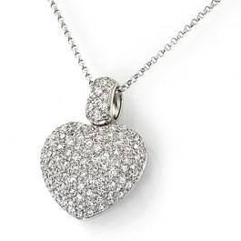Diamond Encrusted Heart Pendant