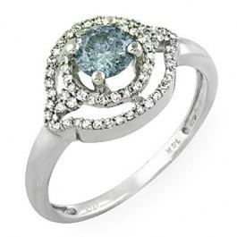 Blue Round Center Stone Ladies' Ring