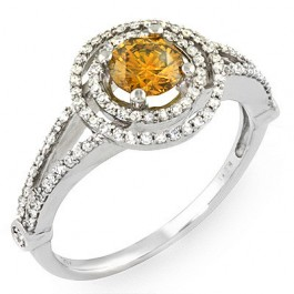 Canary Round Center Stone Ladies' Ring