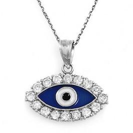Diamond Eye with Enamel Pendant