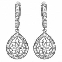 Dangle Dangle Pear Silver Earrings