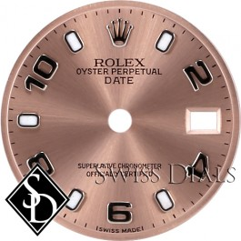 Ladies Rolex Date Pink Luminous Index Hour Markers and Arabic Numerals Swiss Made Dial Stainless Steel