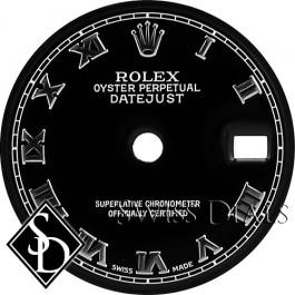 Ladies Rolex Datejust Black Roman Numeral Marker Swiss Made Dial SS