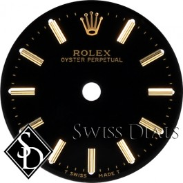 Ladies Rolex Oyster Perpetual Black Stick Marker T Swiss Made T Dial Two-Tone