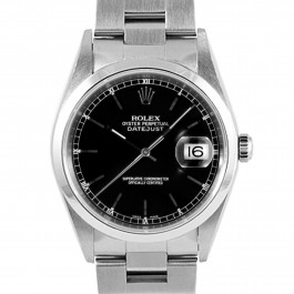 Men's  Rolex Datejust Stainless Steel Black Stick Dial Smooth Bezel Oyster Band