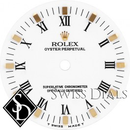 Midsize Rolex Datejust White Print Roman Numeral T Swiss Made T Dial Two-tone