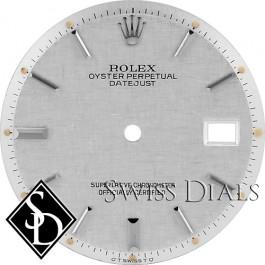 Men's Rolex Datejust Non-quick Silver Linen Stick Marker Dial Stainless Steel