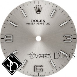 Men's Rolex Oyster Perpetual Silver Luminous Index Hour Markers and Arabic Numerals Swiss Made Dial SS