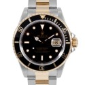 Men's Rolex Submariner Steel and Gold Black Index Dial Black 60min Bezel Oyster Band