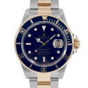Men's Rolex Submariner Steel and Gold Blue Index Dial Blue 60min Bezel Oyster Band
