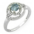 Blue Round Center Stone Ladies' Ring