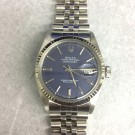 Mens Rolex Datejust Stainless Steel Blue Stick Dial WG Fluted Bezel Jubilee Band