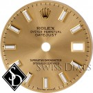 Ladies Rolex Datejust Champagne Baton Luminous Index Hour Markers Swiss Made Dial Two-tone