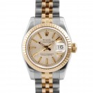 Ladies Rolex Datejust Steel and Gold Champagne Tapestry Dial Fluted Bezel Jubilee Band New Style
