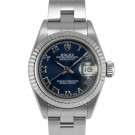 Ladies Rolex Datejust Stainless Steel Blue Roman Numeral Dial Fluted Bezel Oyster Band
