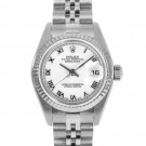 Ladies Rolex Datejust Stainless Steel White Roman Numeral Dial Fluted Bezel Jubilee Band