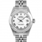 Ladies Rolex Datejust Stainless Steel White Roman Numeral Dial Smooth Bezel Jubilee Band